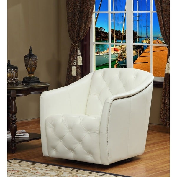 White Cowhide Leather Swivel Tub Chair