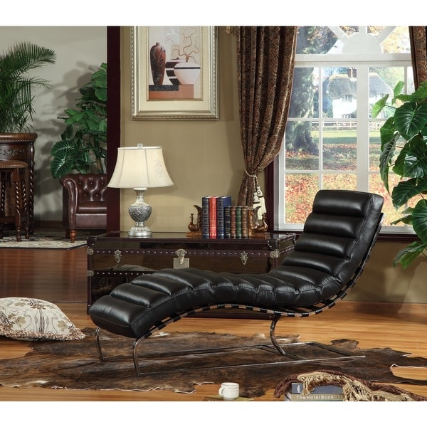 Toscana Black Leather Cowhide Chaise