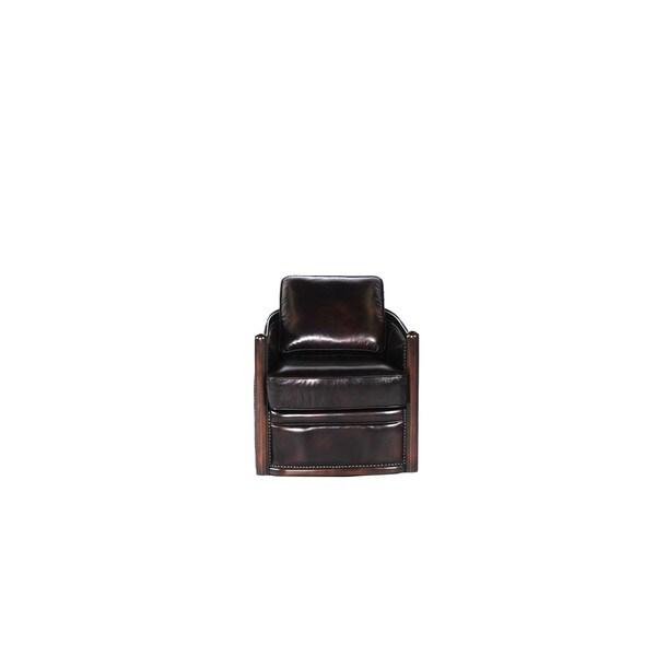 Lisbon Brown Leather Cowhide Swivel Tub Chair