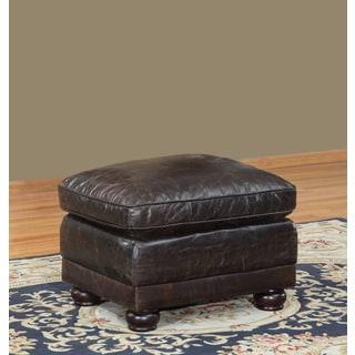 Genesis Brown Leather Cowhide Ottoman