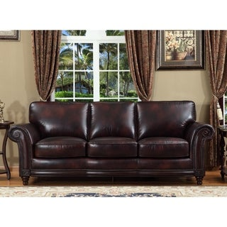 Century Brown Leather Cowhide Sofa