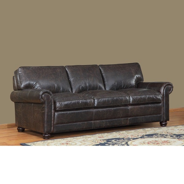 Genesis Brown Leather Cowhide Sofa - 17095462 - Overstock.com Shopping - Great Deals on Sofas ...