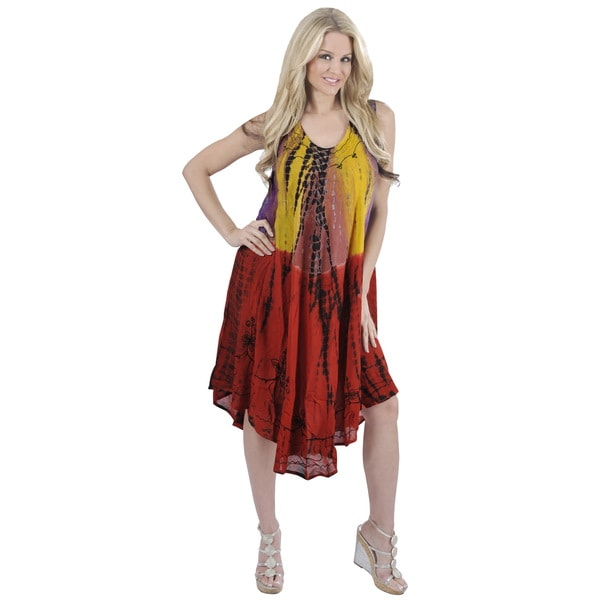 La Leela Yellow Tie-dye Embroidered Beach Dress (One Size)