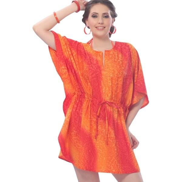 La Leela Women's Red Rain Drop Print Cover-up Beach Dress