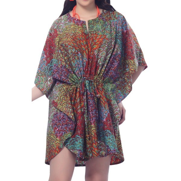 La Leela Peacock Printed Kaftan Cover-up Beach Dress