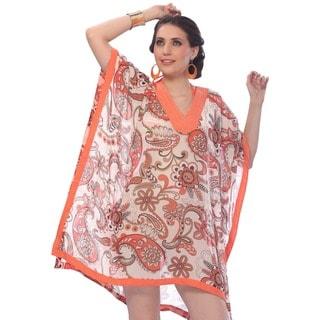 La Leela Sheer Orange Paisley Printed Chiffon Cover-up Kaftan Dress