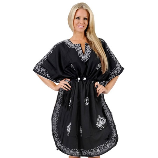 La Leela Embroidered Black Beach Swim Kaftan