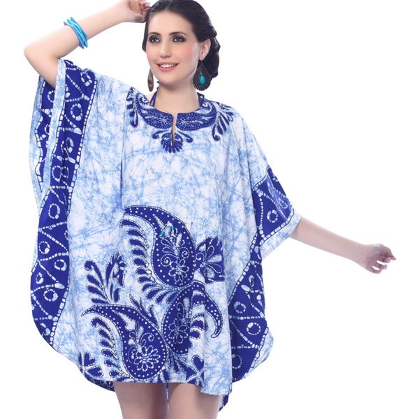 La Leela Blue Paisley Print Batik Swim Cover-up Kaftan Dress