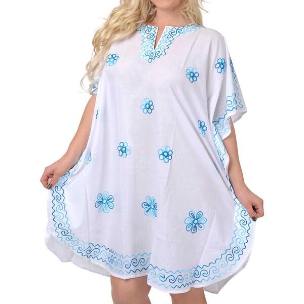 La Leela Embroidered Cover up Top Maxi Dresses Tunic Kaftan Sleepwear Casual Wear M-5X