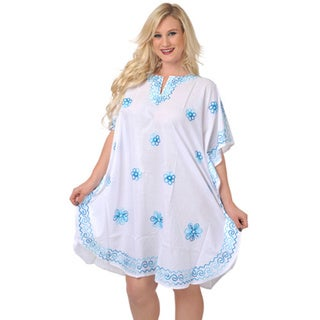 La Leela Women's Plus Size Blue Beach Cover-up Kaftan Tunic