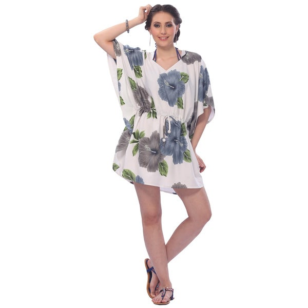 La Leela White and Grey Hibiscus Print Beach Dress