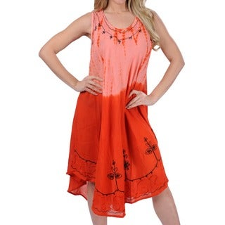 La Leela Orange Tie-dye Design Sleeveless Beach Dress