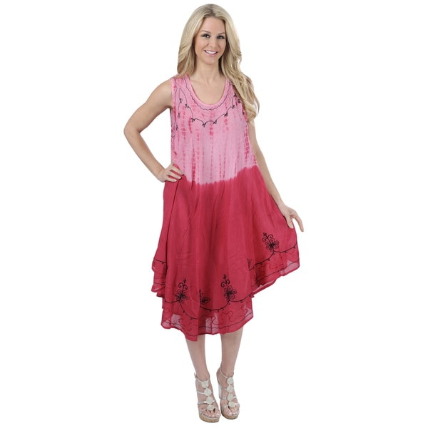 La Leela Pink Tie-dye Design Sleeveless Beach Dress (One Size)