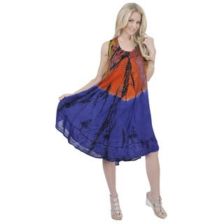 La Leela Multicolor RAYON HAND Tie dye Embroidery Designer Casual Short Orange