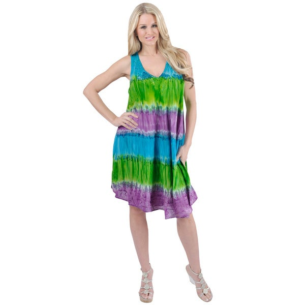 La Leela Blue and Green Tie-dye Embroidered Beach Dress (One Size)