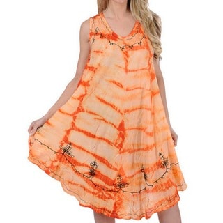 La Leela RAYON HAND Tie Dye Embroidered Designer Casual Beach Dress Darkorange