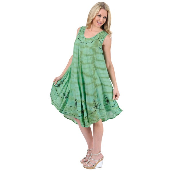 La Leela Green Tie-dye Embroidered Beach Dress (One Size)