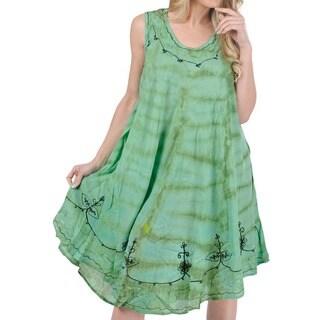 La Leela Green Tie-dye Embroidered Beach Dress (One Size)