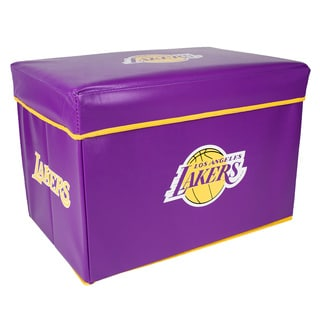 Offical NBA Los Angeles Lakers Team Logo Storage Ottoman with Lid