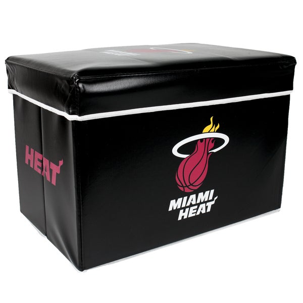 Offical NBA Miami Heat Team Logo Storage Ottoman with Lid
