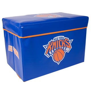 NBA Storage Ottoman with Lid and Offical Team Logo of New York Knicks