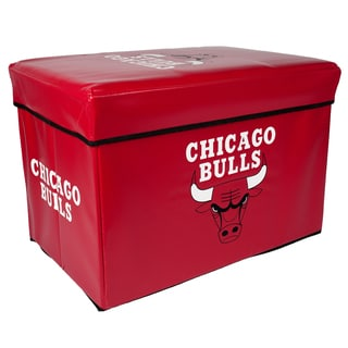Offical NBA Chicago Bulls Team Logo Storage Ottoman with Lid