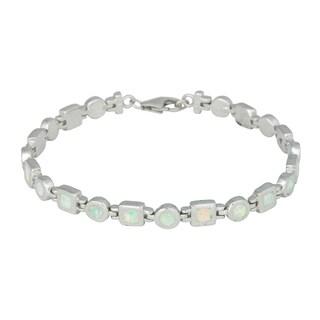 La Preciosa Sterling Silver Created White Opal Link Bracelet