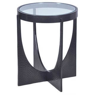 Horizon U-shaped Hammered Dark Bronze Side Table