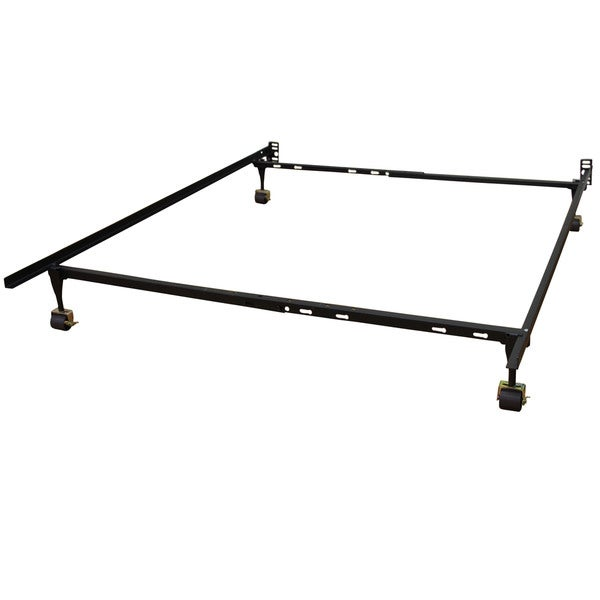 Renew and Revive Standard Heavy Duty Adjustable Metal Bed Frame with Locking Rug Rollers