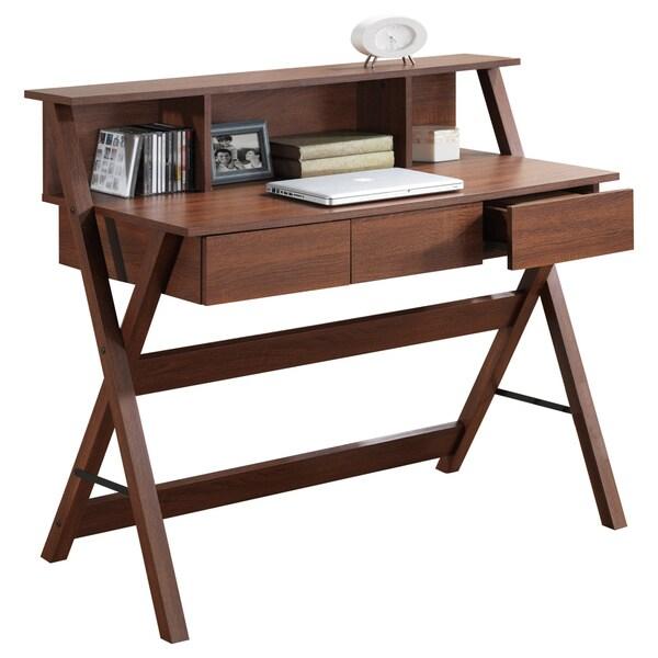 Corliving Folio Three Drawer Desk With Low Profile Hutch