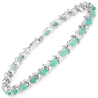Sterling Silver Oval Emerald Tennis Bracelet