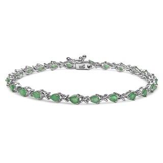 Sterling Silver Pear-cut Emerald Tennis Bracelet