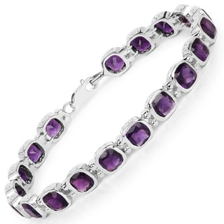 Sterling Silver Cushion-cut Amethyst Bracelet
