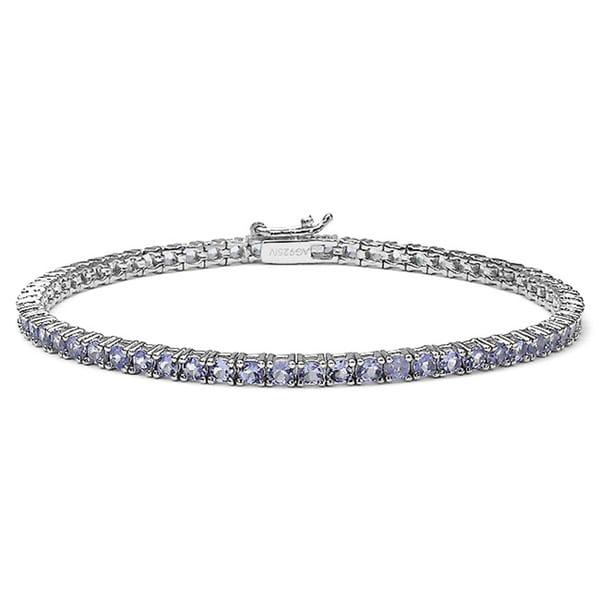 Sterling Silver Round-cut Tanzanite Tennis Bracelet