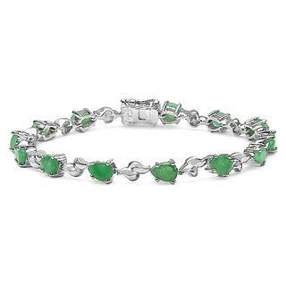 Sterling Silver Pear-cut Emerald Bracelet