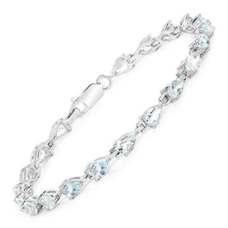 Malaika Sterling Silver Pear-cut Aquamarine Tennis Bracelet