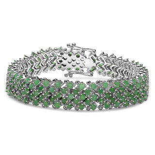 Sterling Silver Round-cut Emerald Multi-row Tennis Bracelet