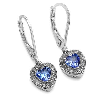Sterling Silver Tanzanite and White Topaz Clip-on Earrings