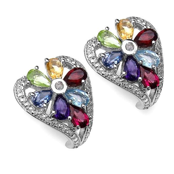 Sterling Silver Multi-gemstone Heart-shaped Earrings