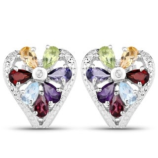 Sterling Silver Multi-gemstone Heart-shaped Earrings