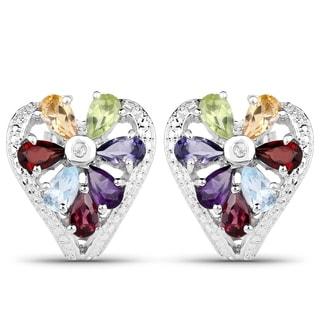 Malaika Sterling Silver Multi-gemstone Heart-shaped Earrings