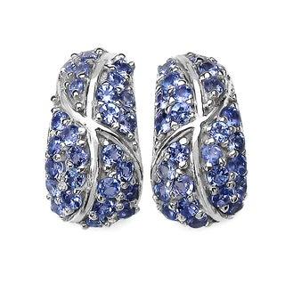 Malaika Sterling Silver Round-cut Tanzanite Earrings