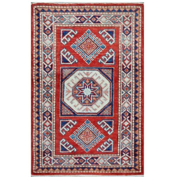 Herat Oriental Afghan Hand-knotted Tribal Super Kazak Wool Rug (2'1 x 3'2) - 2'1 x 3'2 14973461