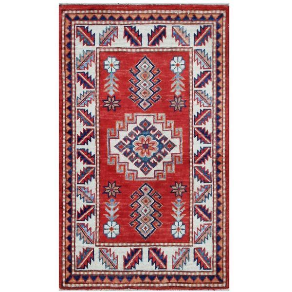 Herat Oriental Afghan Hand-knotted Tribal Super Kazak Wool Rug (1'11 x 3'2) - 1'11 x 3'2 14973473