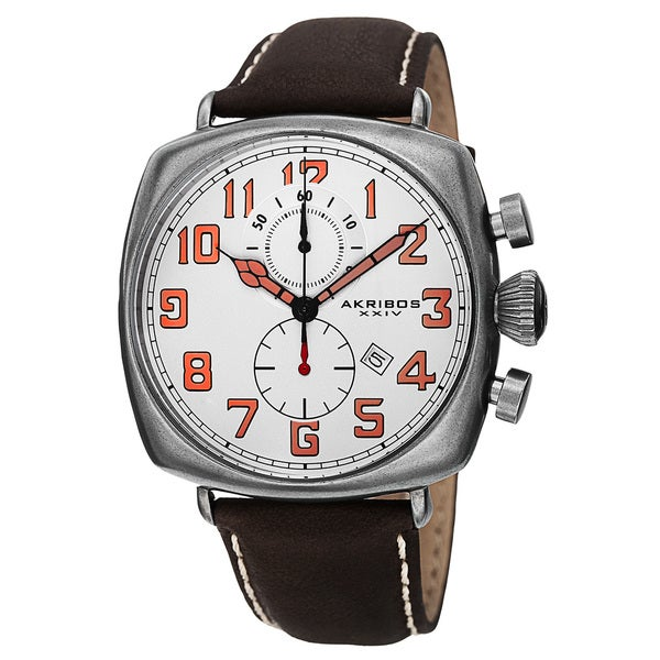 Akribos XXIV Men's Japanese Quartz Chronograph Date Display Leather Strap Watch