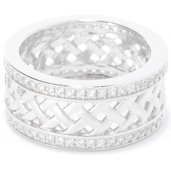 Sterling Silver 1.02ct Round White Zircon Woven Band Ring