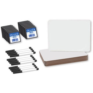 Flipside Magnetic Dry Erase Board with Pen and Student Eraser Set (Pack of 12)
