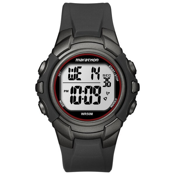 Timex Marathon Men's Digital Full-size Gunmetal Grey/ Red Watch