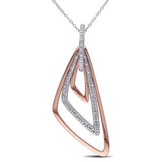 Miadora Two-tone Silver 1/6ct TDW Diamond Triangle Necklace (G-H, I2-I3)