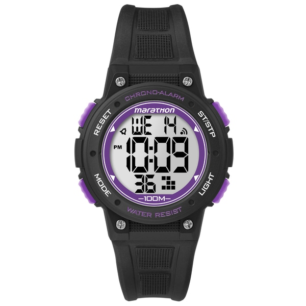 Timex Marathon Digital Mid-size Black/ Purple Resin Watch